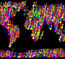 World Map Music Notes by piedaydesigns