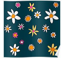Teal Flowers Poster