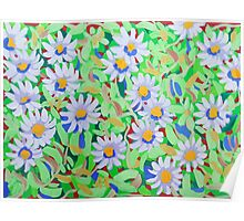 Blue Daisy Pattern Poster
