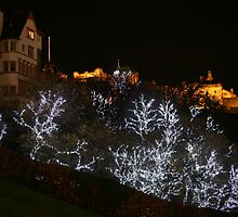 Edinburgh Castle and Christmas trees  by Linda More