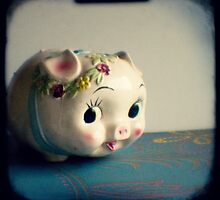 Pretty piggy - vintage china piggy bank photograph by gailgriggs