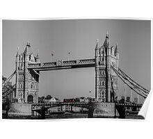 Red London Bus crossing Tower Bridge  Poster
