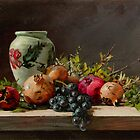 pomegranates with a white vase by Demetrios Vlachos