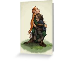 Kiliel: Tauriel and Kili from the Hobbit on a Tree Stump Greeting Card