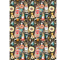 floral pattern with owls Photographic Print