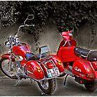 Two red bikes by Maistora