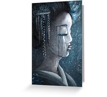 Geisha in Snow: The Stoic Concubine Greeting Card
