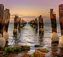 Old jetty at low tide - Clifton Springs by Hans Kawitzki