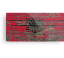 Flag of Albania on Rough Wood Boards Effect Metal Print