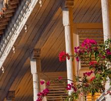Columbia. Cartagena. Balcony with Flowers. Sticker