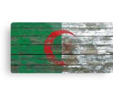 Flag of Algeria on Rough Wood Boards Effect Metal Print