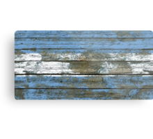 Flag of Argentina on Rough Wood Boards Effect Metal Print