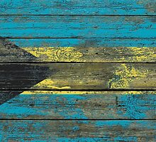 Flag of Bahamas on Rough Wood Boards Effect by Jeff Bartels