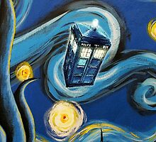 Blue Tardis Starry Night by davinciart