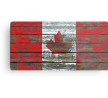 Flag of Canada on Rough Wood Boards Effect Metal Print