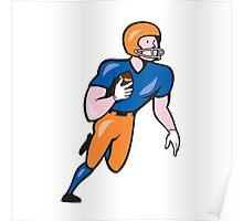 American Football Player Rusher Run Cartoon Poster