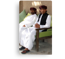 Sitting Men, Oman Canvas Print