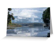 Cloud and mist over Wallaga lake and Gulaga Greeting Card