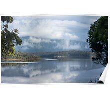 Cloud and mist over Wallaga lake and Gulaga Poster