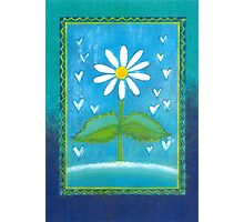 BLUE ROMANCE DAISY DREAM - Pastel-Work on handmade Bananaleaf-Paper Photographic Print