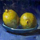 Lemons on Blue Plate by Les Castellanos