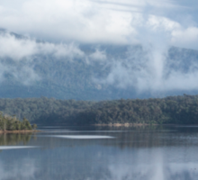 Cloud and mist over Wallaga lake and Gulaga Sticker