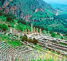 Temple of Apollo and Theatre, Delphi 1960 by Priscilla Turner
