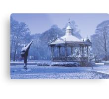 Music Kiosk in the snow - in blue Metal Print
