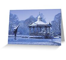 Music Kiosk in the snow - in blue Greeting Card