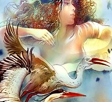 """Dancing with Birds"" - - postcard & greeting card by Anna Miarczynska"