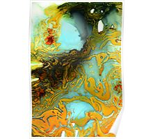 Orange Blue Abstract Print  Poster