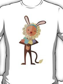 Cute lion Easter bunny ears animal print eggs T-Shirt