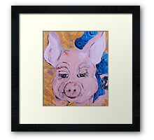 Blue Ribbon Pig Framed Print