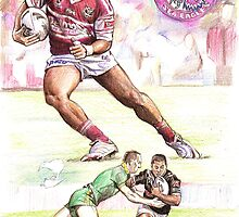 Steve Matai - league NRL Manly Sea Eagle and Kiwi International by Alleycatsgarden