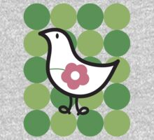 Retro Flower Daisy Chick on Green Dots T-shirt Kids Clothes
