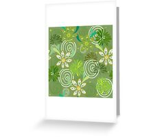 Seamless swirly green floral pattern Greeting Card