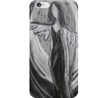 Black & White Angel, Abstract Charcoal Drawing  iPhone Case/Skin