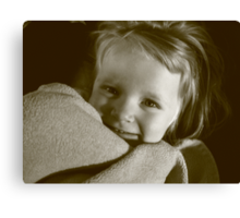 3 year old girl with blanket Canvas Print