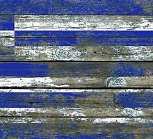 Flag of Greece on Rough Wood Boards Effect by Jeff Bartels