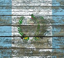 Flag of Guatemala on Rough Wood Boards Effect by Jeff Bartels