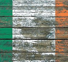 Flag of Ireland on Rough Wood Boards Effect by Jeff Bartels