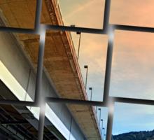 Danube river bridge   architectural photography Sticker