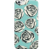 Retro floral pattern with hand drawn roses iPhone Case/Skin