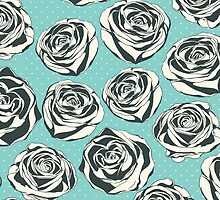 Retro floral pattern with hand drawn roses by LourdelKaLou