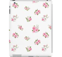 Cute vintage rose flower pattern on white background iPad Case/Skin