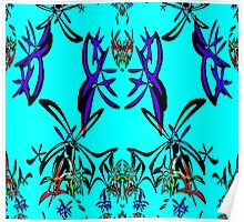 Abstract Flowers in Blue - all current products Poster