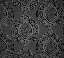 Black luxury ornamental wallpaper by LourdelKaLou