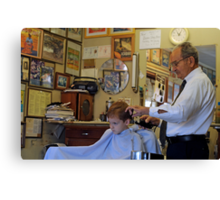 Visit to the Barber Shop Canvas Print