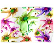Multicolored Floral Print Pattern Poster