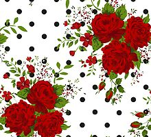 Pattern with abstract red flowers. Rose vintage background by LourdelKaLou